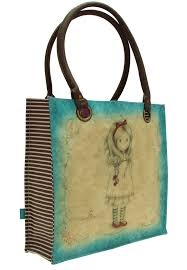 Shopper Bag Large Gorjuss Heart Strings Coated - Santoro - Abc La Cartoleria